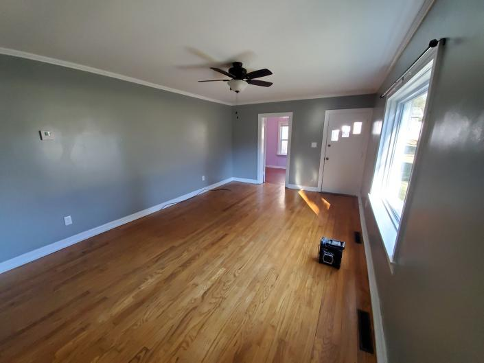 This is a before picture of a refinish wood floor job in Paducah Ky 2001.