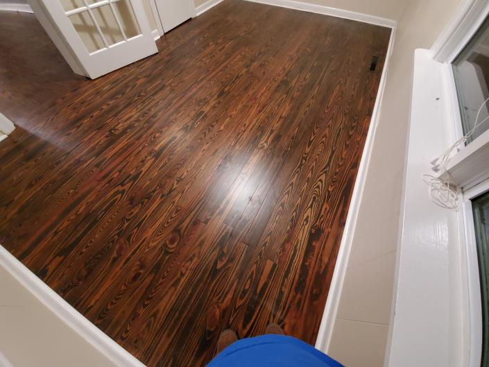 After water popping both floors. The yellow pine matches the red oak! Most would say that is impossible.